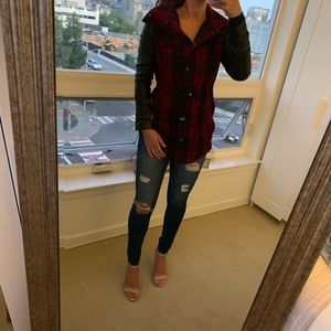 NASTY GAL plaid  jacket with faux leather sleeves